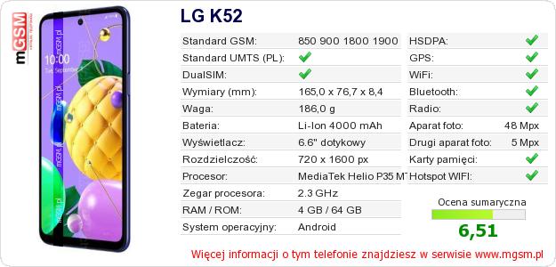 Dane telefonu LG K52