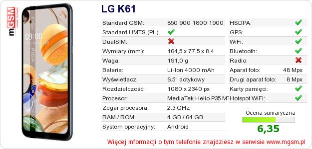 Dane telefonu LG K61