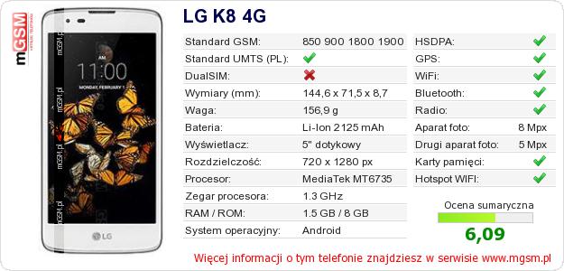 Dane telefonu LG K8 4G