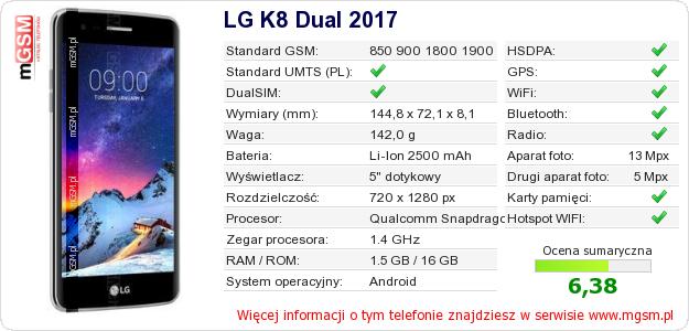 Dane telefonu LG K8 Dual 2017