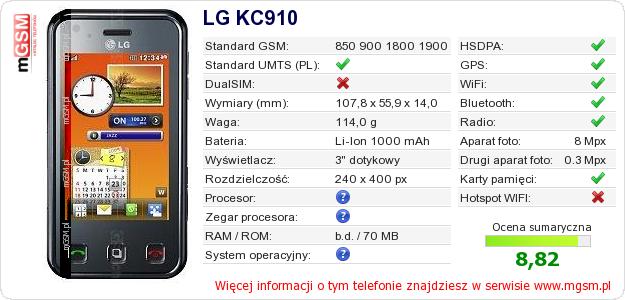 Dane telefonu LG KC910