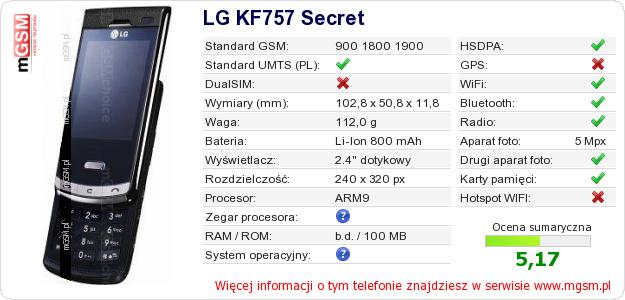 Dane telefonu LG KF757 Secret