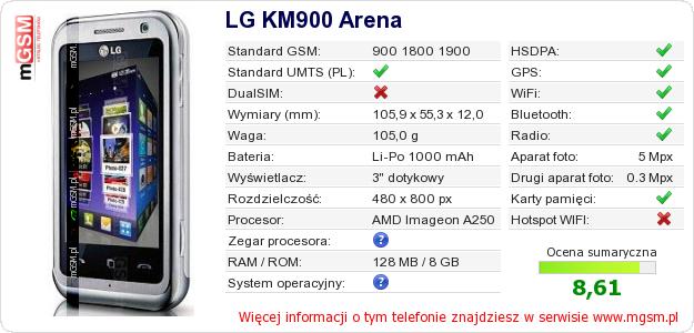 Dane telefonu LG KM900 Arena