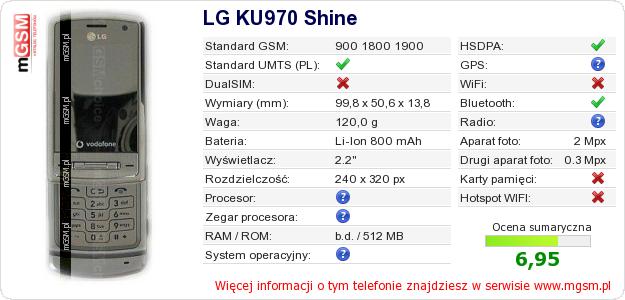 Dane telefonu LG KU970 Shine