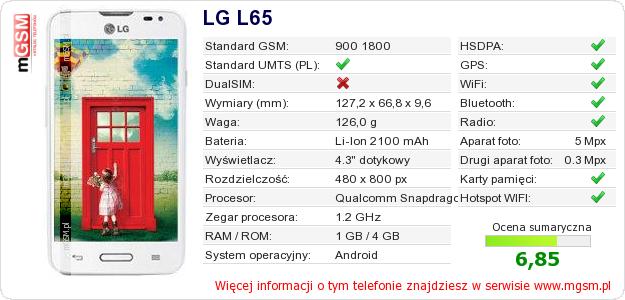 Dane telefonu LG L65