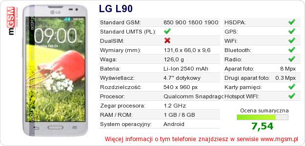 Dane telefonu LG L90