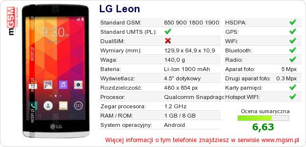 Dane telefonu LG Leon