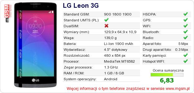 Dane telefonu LG Leon 3G