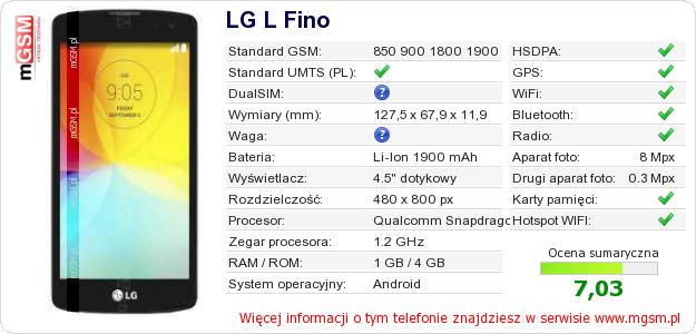 Dane telefonu LG L Fino