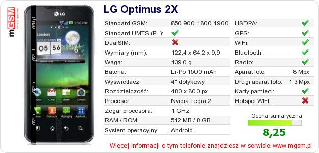 Dane telefonu LG Optimus 2X