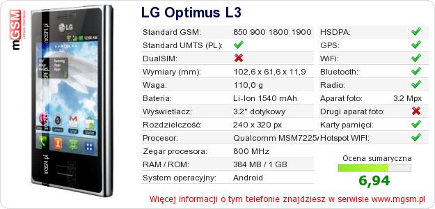 Dane telefonu LG Optimus L3