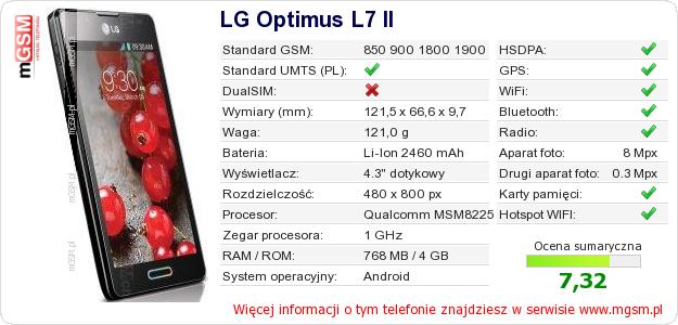 Dane telefonu LG Optimus L7 II