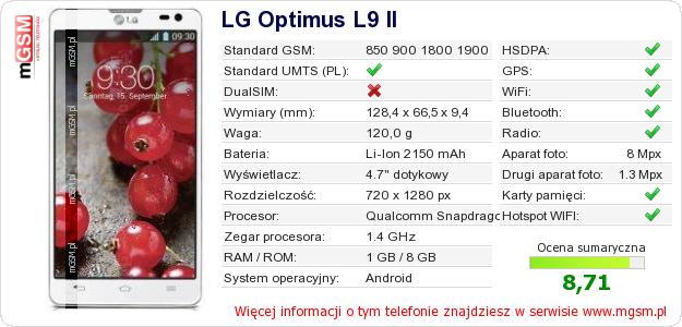 Dane telefonu LG Optimus L9 II