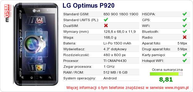 Dane telefonu LG Optimus P920