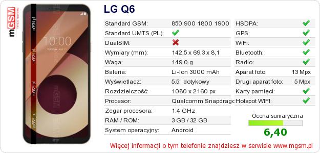 Dane telefonu LG Q6