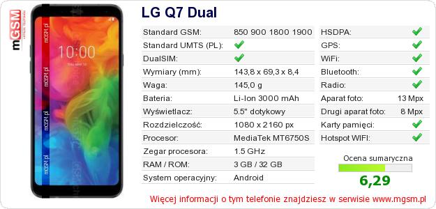 Dane telefonu LG Q7 Dual