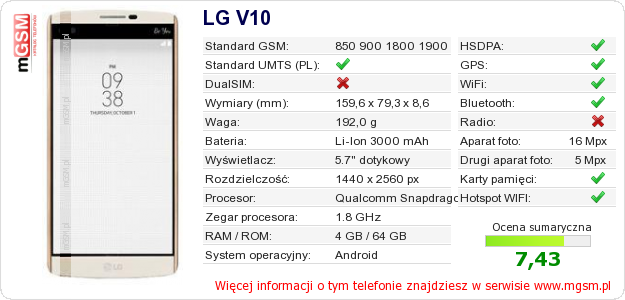 Dane telefonu LG V10