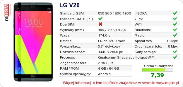 Dane telefonu LG V20