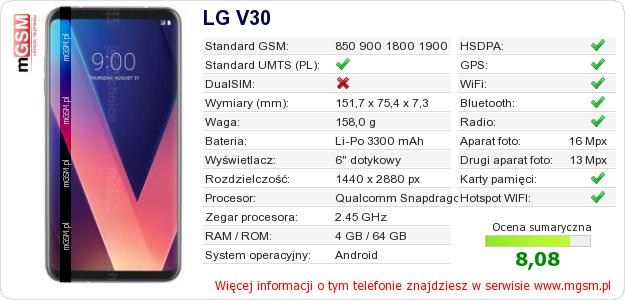 Dane telefonu LG V30