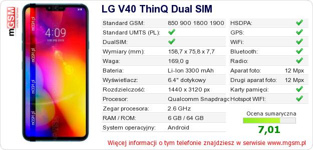 Dane telefonu LG V40 ThinQ Dual SIM