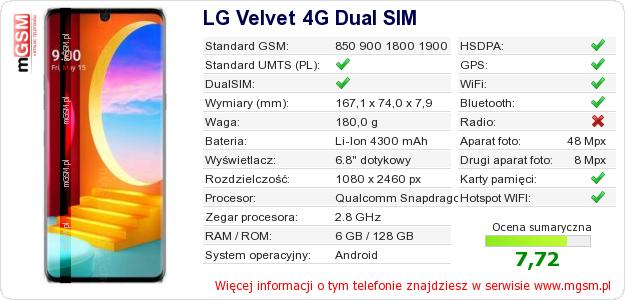 Dane telefonu LG Velvet 4G Dual SIM