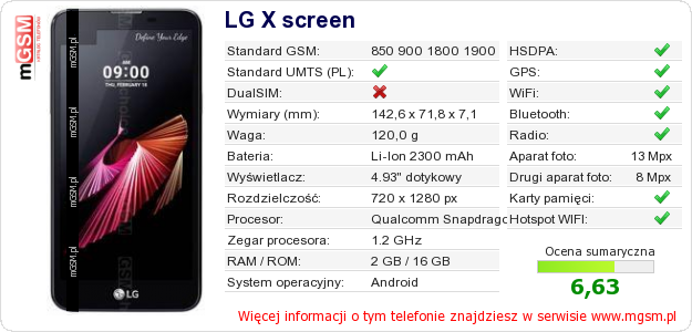 Dane telefonu LG X screen