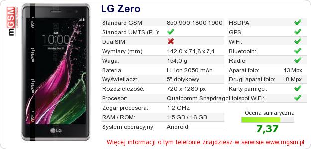 Dane telefonu LG Zero