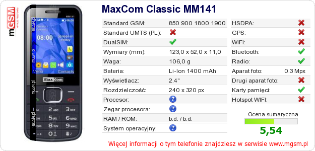 Dane telefonu MaxCom Classic MM141