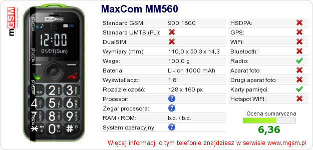 Dane telefonu MaxCom MM560