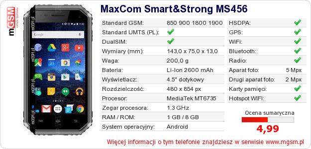 Dane telefonu MaxCom Smart&Strong MS456