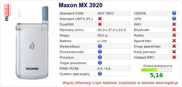 Dane telefonu Maxon MX 3920