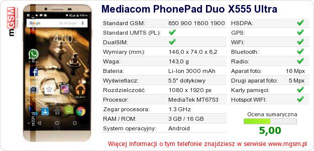 Dane telefonu Mediacom PhonePad Duo X555 Ultra