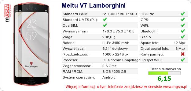 Dane telefonu Meitu V7 Lamborghini