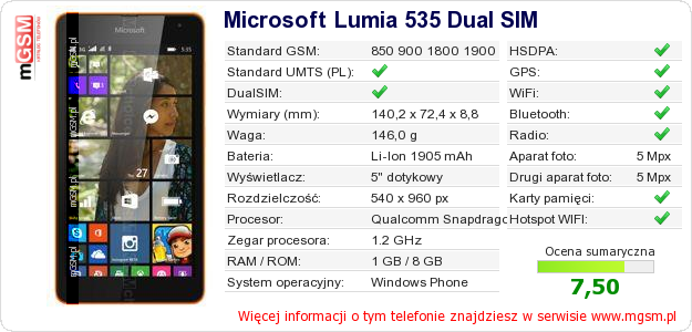 Dane telefonu Microsoft Lumia 535 Dual SIM