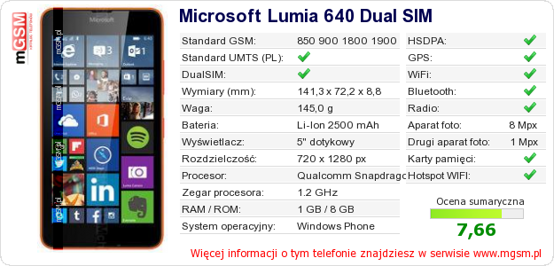 Dane telefonu Microsoft Lumia 640 Dual SIM