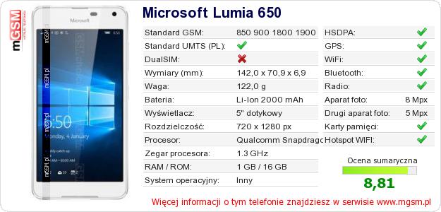 Dane telefonu Microsoft Lumia 650