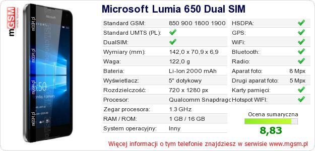 Dane telefonu Microsoft Lumia 650 Dual SIM