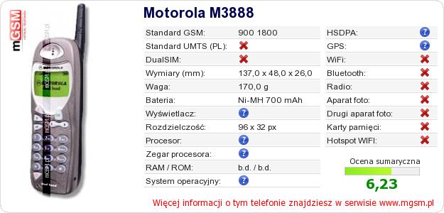 Dane telefonu Motorola M3888