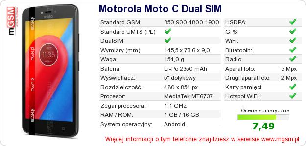 Dane telefonu Motorola Moto C Dual SIM