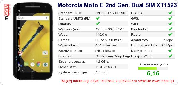 Dane telefonu Motorola Moto E 2nd Gen. Dual SIM XT1523