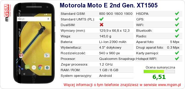 Dane telefonu Motorola Moto E 2nd Gen. XT1505