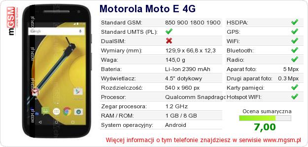 Dane telefonu Motorola Moto E 4G
