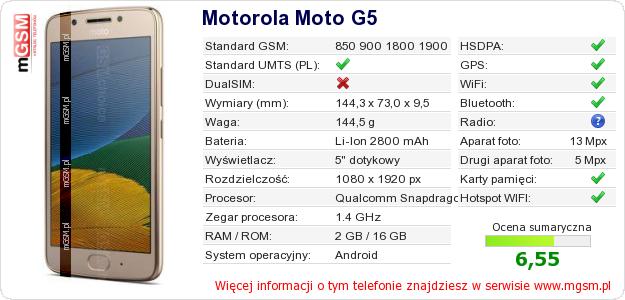 Dane telefonu Motorola Moto G5