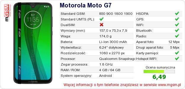 Dane telefonu Motorola Moto G7