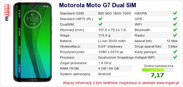 Dane telefonu Motorola Moto G7 Dual SIM
