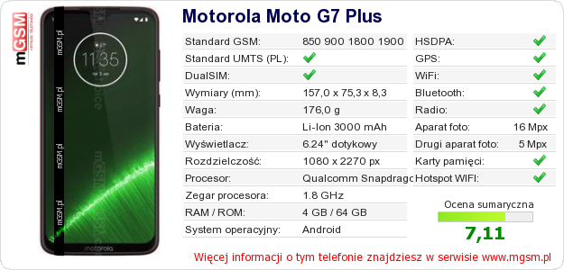 Dane telefonu Motorola Moto G7 Plus
