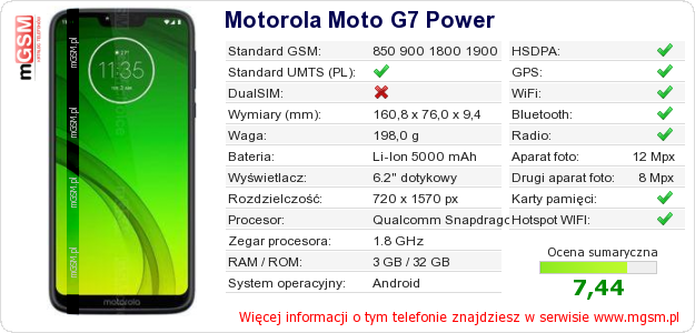 Dane telefonu Motorola Moto G7 Power