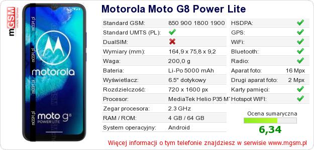 Dane telefonu Motorola Moto G8 Power Lite