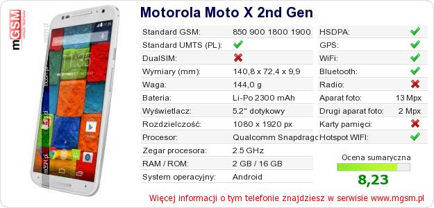 Dane telefonu Motorola Moto X 2nd Gen