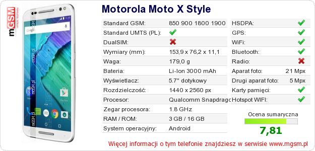 Dane telefonu Motorola Moto X Style